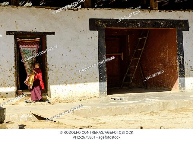 Novice monk at the monastery in Bhutan