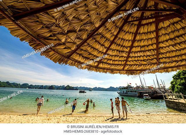 Vietnam, Gulf of Tonkin, Quang Ninh province, Ha Long Bay (Vinh Ha Long) listed as World Heritage by UNESCO (1994), Soi Sim beach