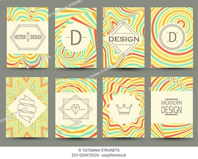 Set of vintage flyer pages. Vector decorative retro greeting card or invitation design. Sign ornament, frame and art decoration, elegant symbol classic graceful