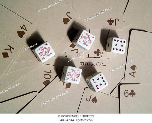 Poker dices and cards