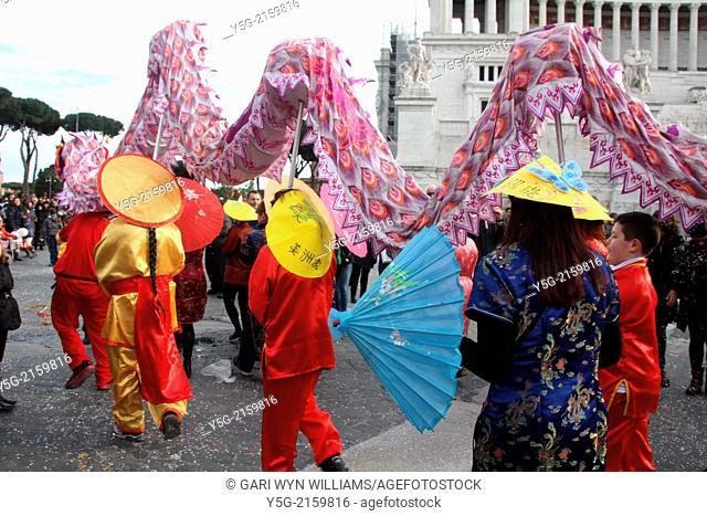 Rome, Italy. March 2014.Carnival on Via dei Fori Imperiali street in Rome Italy