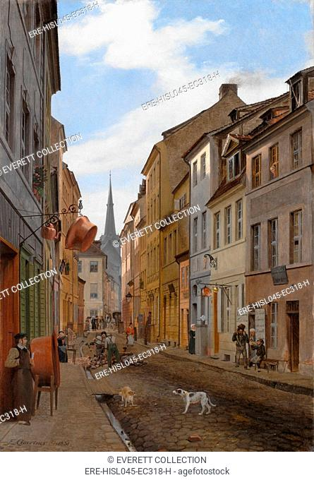 PAROCHIALSTRASSE IN BERLIN, by Eduard Gaertner, 1831, German painting, oil on canvas. Gaertner specialized in architectural painting in which he possibly used a...