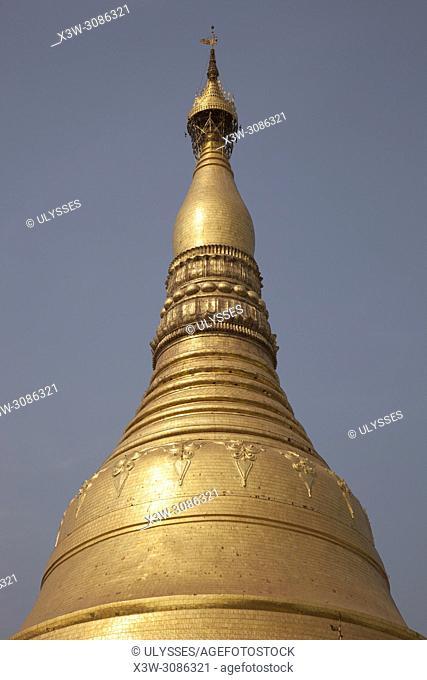 Detail of the golden dome, Shwedagon pagoda, Yangon, Myanmar, Asia