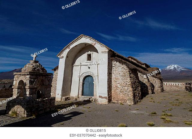 Photograph of the small church in Sajama in the Sajama National Park in Bolivia