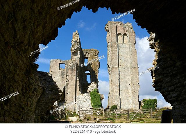 Medieval Corfe castle Keep cloase up, built in 1086 by William the Conqueror, Dorset England