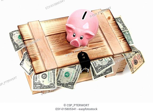 wooden case with dollar notes and pink piggybank
