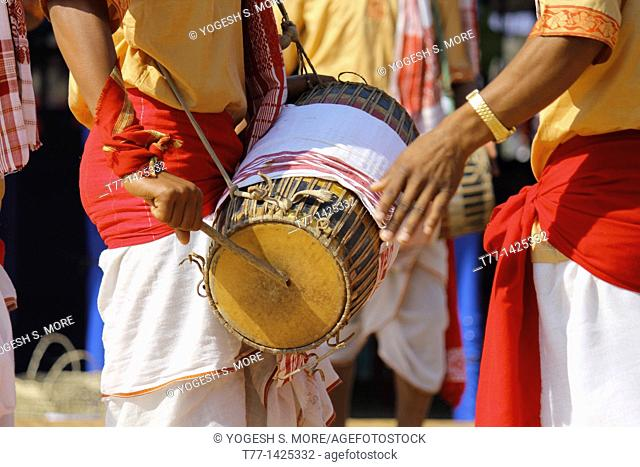 Bihu, Assamese Tribes Performing Traditional Bihu Dance at Namdapha eco cultural festival, Miao, Arunachal Pradesh, India