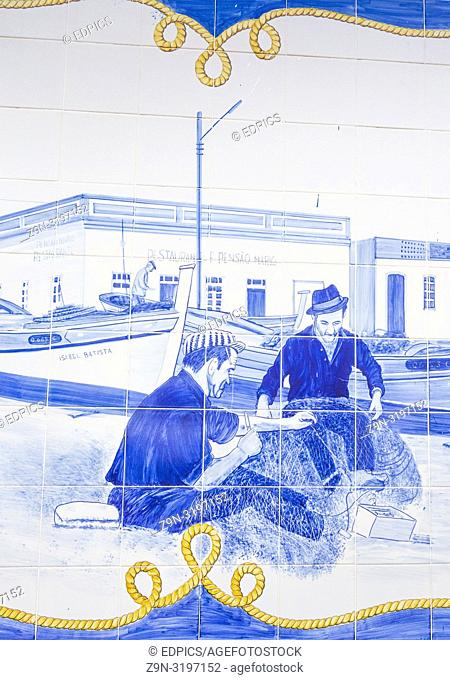 azulejo tile painting, fishermen mending nets, central bus station, terminal rodoviario, quarteira, algarve, portugal