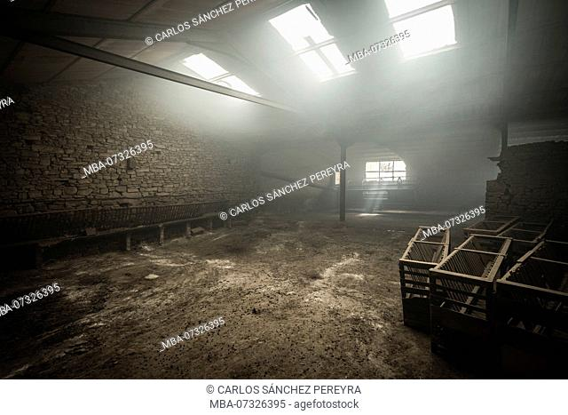 Interior of an empty farm in the province of Soria