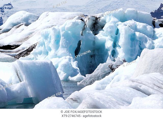 wind blown and sculpted icebergs at Jokulsarlon glacial lagoon Iceland