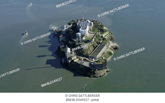 Aerial view of island prison, San Francisco, California, United States
