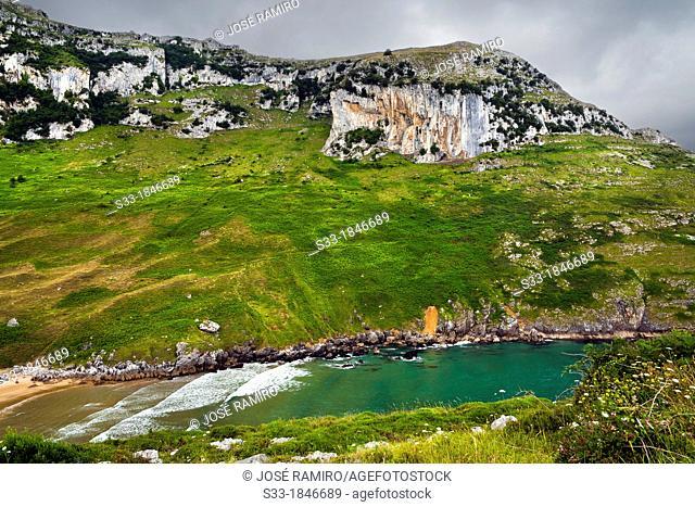 Valdearenas beach in Sonabia  Santander  Cantabria  Spain