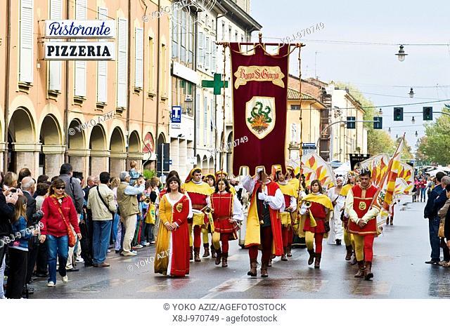 Historical parade of the feast of St  Nicola Castelfranco Emilia - Modena, Italy