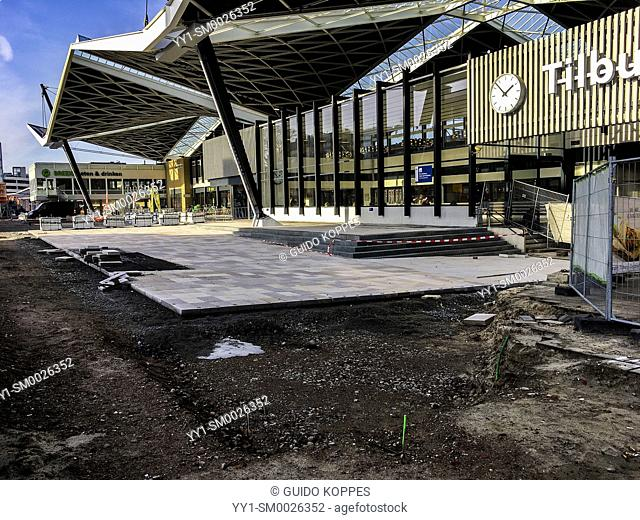 Tilburg, Netherlands. Tilburg's Public Railway Station being refurbished and overhauled. After three years, final work is being started on pavements around the...