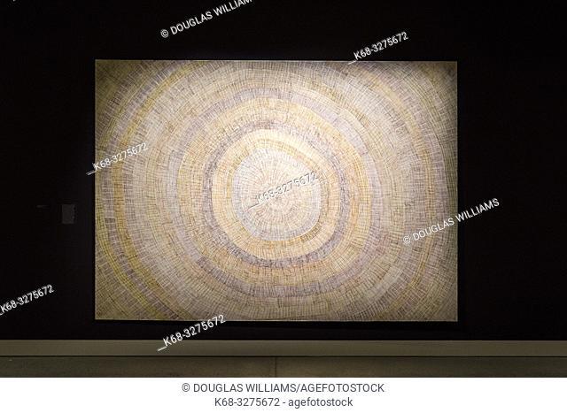 Sun Mat, 2015 by artist Regina Pilawuk Wilson at Marking the Infinite, Contemporary Women Artists from Aboriginal Australia