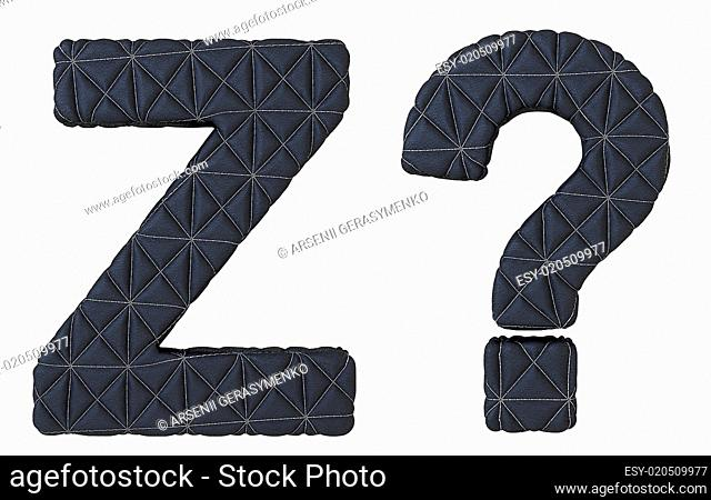 Stitched leather font Z letter and query mark