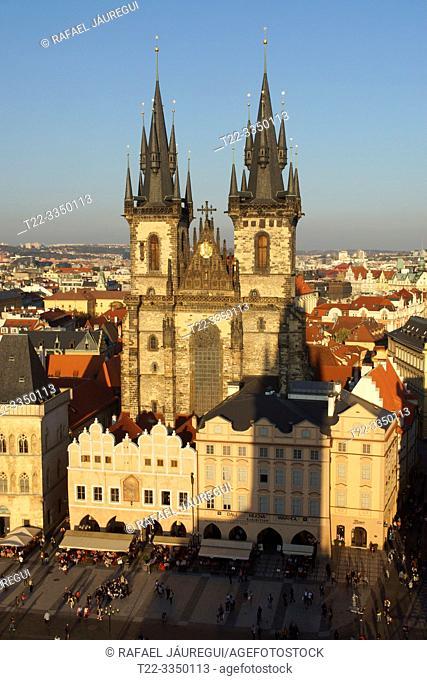 Prague (Czech Republic). Church of Týn. (Chrám Matky Boží pŠ. ed Týnem) in Old Town Square (StaromÄ›stské námÄ›stí) of the city of Prague