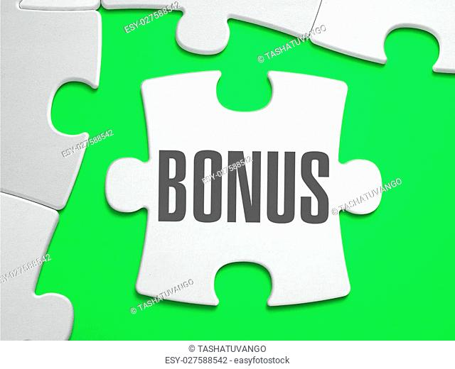Bonus - Jigsaw Puzzle with Missing Pieces. Bright Green Background. Close-up. 3d Illustration