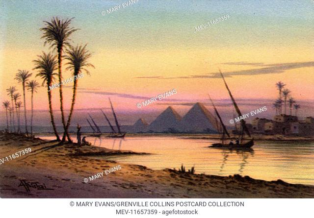 The River Nile and the Pyramids of Giza, Cairo, Egypt