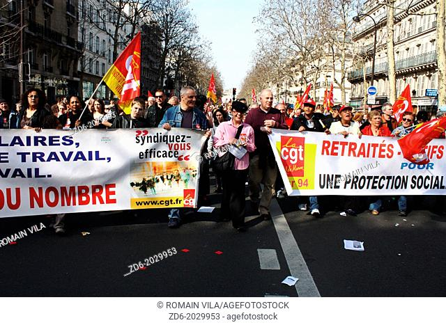 Procession of the trade union CGT during a demonstration against the pension reform, Paris, Île-de-France, France, Europe, 23 march 2010
