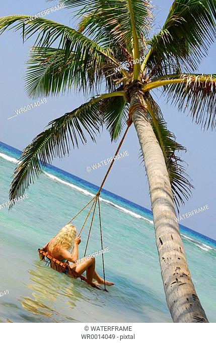 Relaxing at Beach, Indian Ocean, Maldives