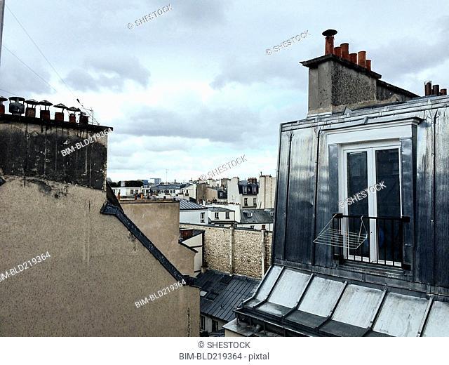 Rooftops in Paris cityscape, Ile-de-France, France