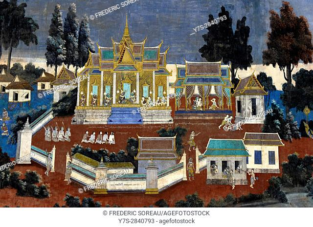 Ruined frescoes and paintings on wall,Royal Palace Complex,Phnom Penh,Cambodia,Indochina,Southeast Asia,Asia