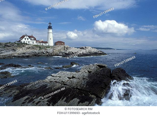 Cape Elizabeth, ME, Maine, Portland Headlight along the rocky coastline of the Atlantic Ocean