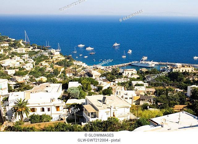 High angle view of boats at the harbor, Marina Grande, Capri, Campania, Italy