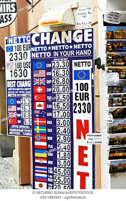 a money exchange shop in Prague, Czech Republic