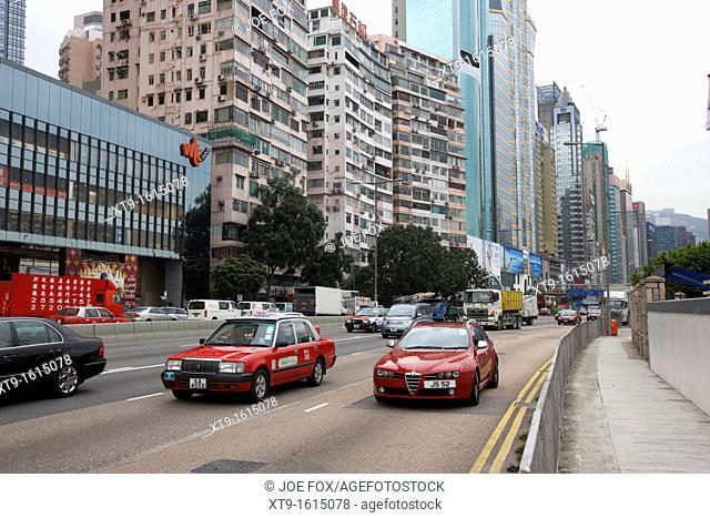 traffic on gloucester road and eastern island corridor roads causeway bay hong kong hksar china asia