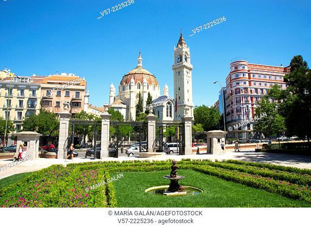 San Manuel y San Benito church from The Retiro park. Madrid, Spain