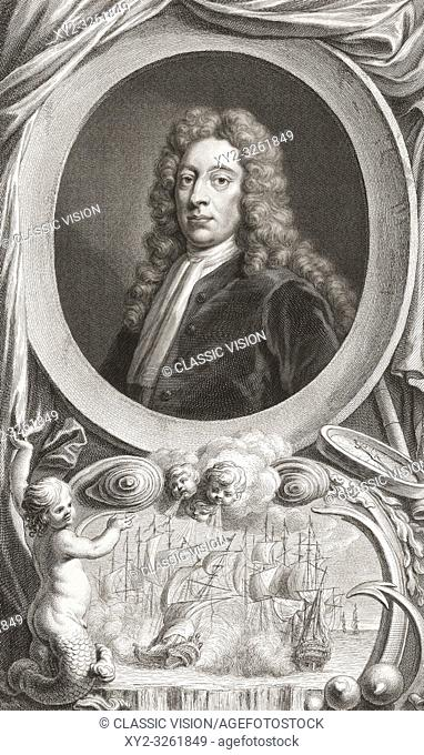 George Byng, 1st Viscount Torrington, 1663-1733. Royal Navy Admiral of the Fleet and statesman. From the 1813 edition of The Heads of Illustrious Persons of...
