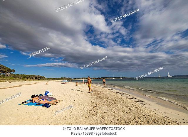 Carbó beach,Ses Salines, protected natural area, Majorca, Balearic Islands, Spain