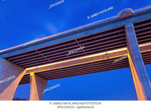 A detail shot from underneath the Dundas St viaduct (bridge) that spans the Lions Valley and 16 Mile Creek. Oakville, Ontario, Canada