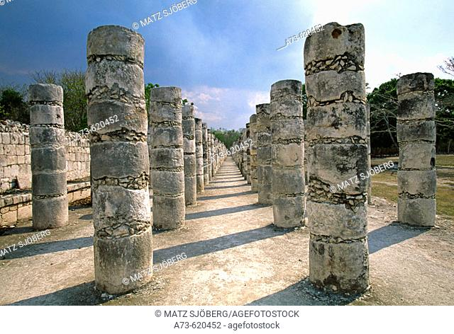 View of the Thousand Columns Group (UNESCO World Heritage). Chichen Itza. Yucatan. Mexico