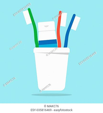 Three toothbrushes and toothpaste in a glass vector illustration. Toothbrush isolated on white background. Toothbrush vector icon illustration