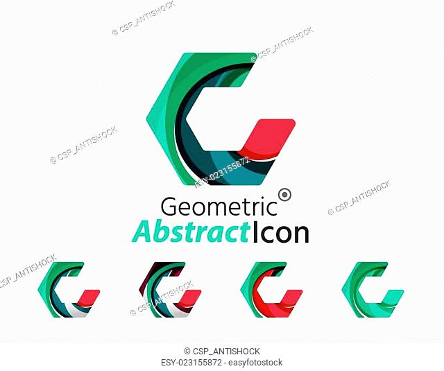 Set of abstract geometric company logo hexagon shapes