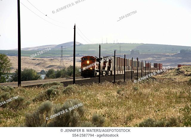 A BNSF stack train near Roosevelt, Klickitat County, Washington State, USA