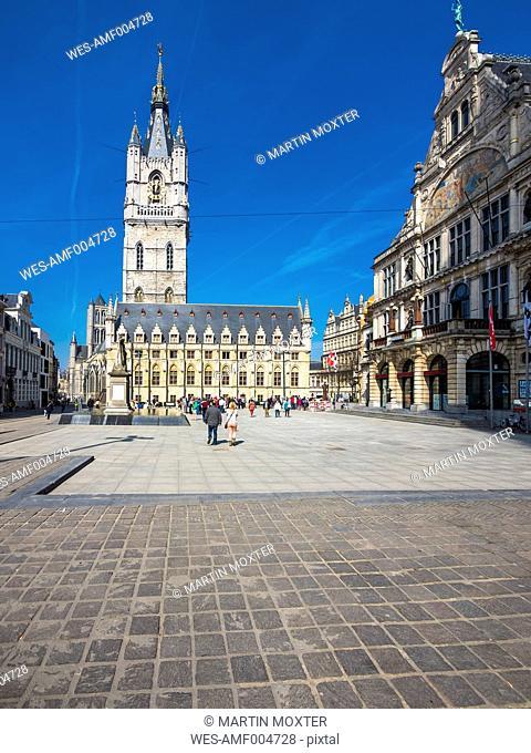 Belgium, Flanders, Ghent, Sint-Baafsplein, Cloth hall and belfry, theatre right