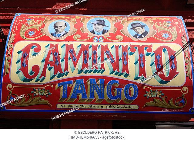 Argentina, Buenos Aires, La Boca district, La Perla de Caminito sign showing tango singers on Mendoza Avenue near Caminito street
