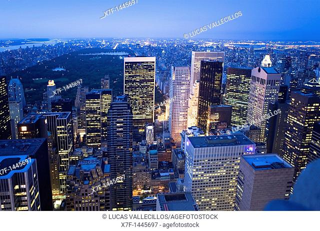 View of Central Park and North Manhattan from Top of the Rockefeller Center, New York City, USA