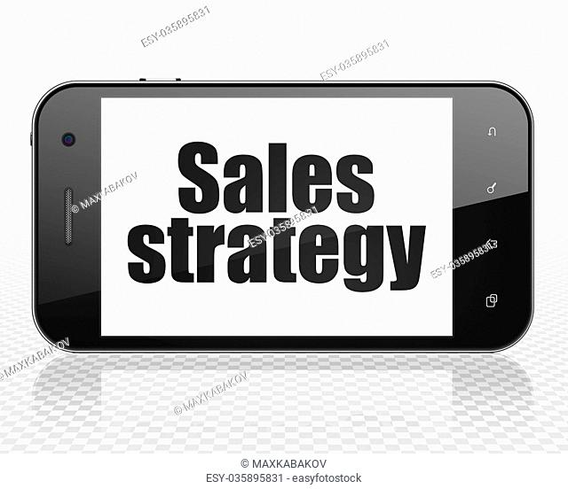 Advertising concept: Smartphone with Sales Strategy on display