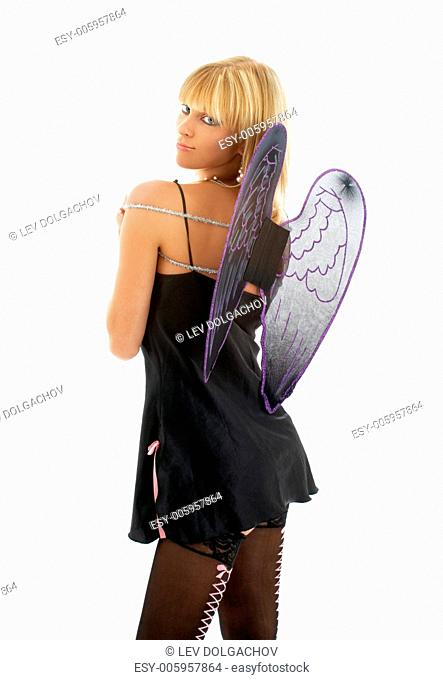 picture of angel in black lingerie over white