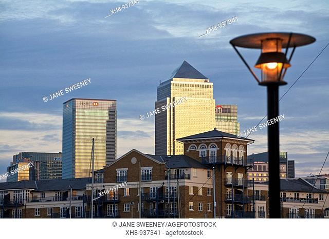 Limehouse Basin with Canary Wharf buildings in background, Tower Hamlets, London, England, UK