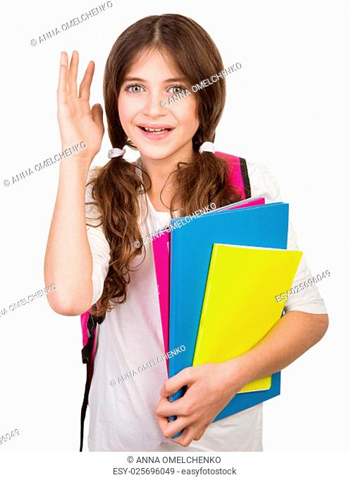 Portrait of cute schoolgirl with bag and books in hands isolated on white background, back to school, ready to study something new