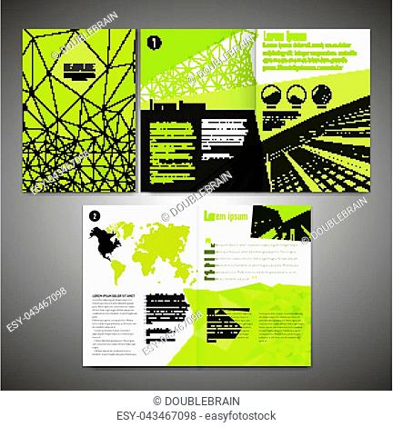 Vector business brochure template. Modern idea for flyer, book, booklet, brochure and leaflet design. Editable graphic layout with copyspace in yellow