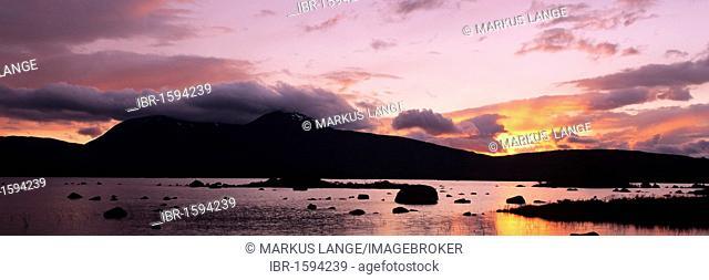 Loch Na H'Achlaise and Black Mount, Rannoch Moor, Highlands, Scotland, United Kingdom, Europe