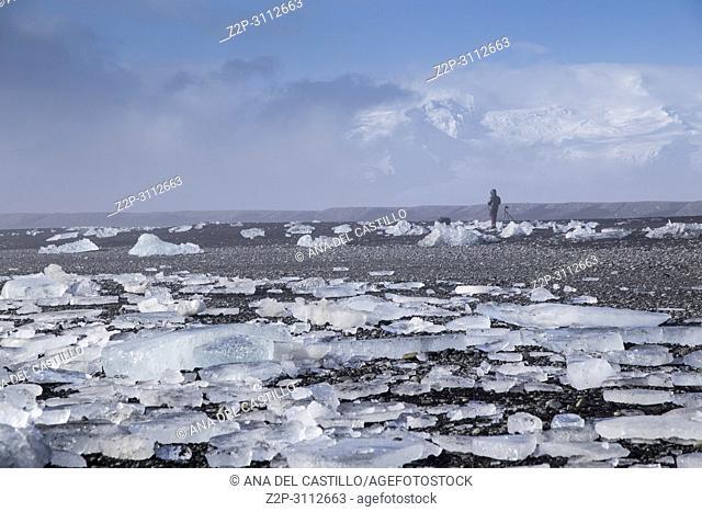 Diamond Beach Black Iceland beach with diamond ice blocks