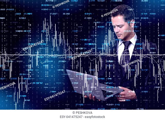 Side portrait of thoughtful handsome young businessman using laptop on dark forex background. Technology and trade concept. Double exposure